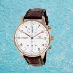 IWC Schaffhausen Portuguese Rose Gold Chronograph IW371480 Men's Brown Alligator Leather Watch