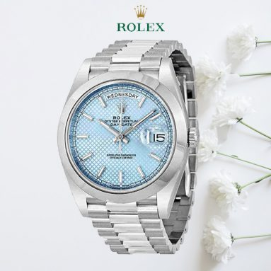 Rolex Day Date Automatic Ice Blue Dial Platinum Men's Watch 228206IBLSP